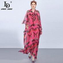 LD LINDA DELLA 2018 Fashion Runway Boho Vacation Maxi Dresses Women's Batwing Sleeve Loose Chiffon Butterfly Printed Long Dress цена и фото