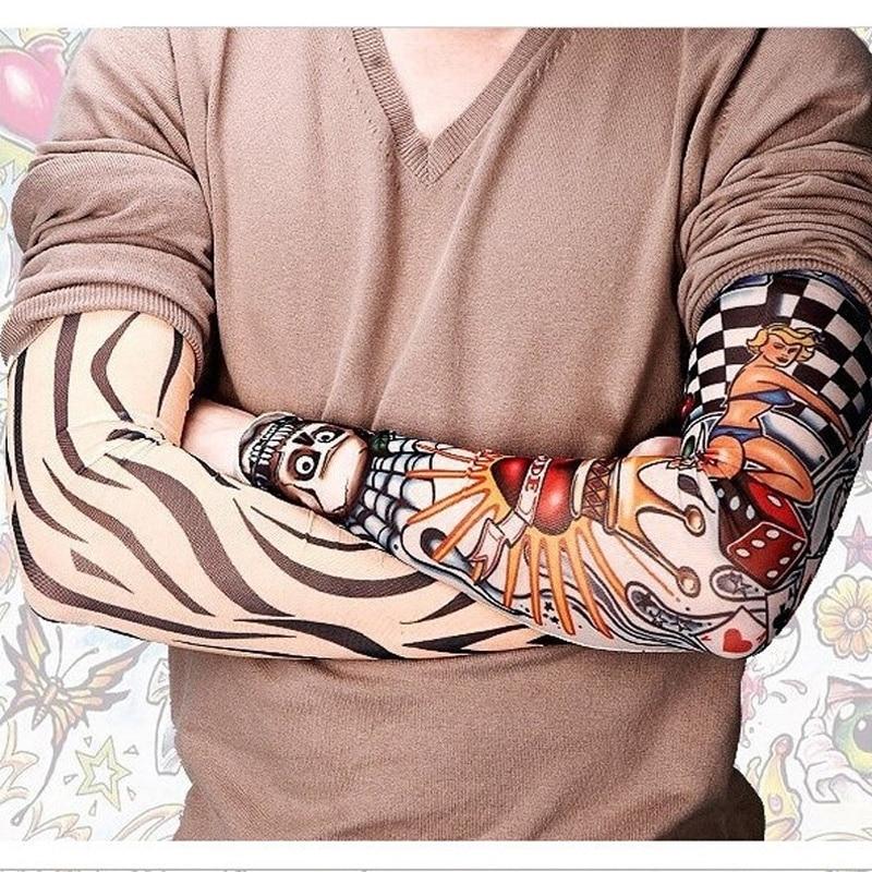 New Fashion 2 Pcs/lot Multicolor Punk Men Women UV Sunscreen Skull Theme Fake Tattoo Sleeves Arm Warmers