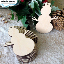 10pcs/lot Chrismas Snowman Wood Chips With Rope Ornaments Christmas Tree Scrapbooking Decor Home Shop Hanging Tags Crafts Gift(China)
