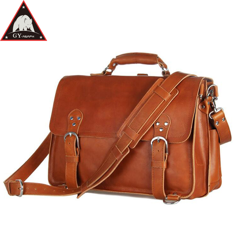 ANAPH Man Work Bag, Thick Leather Office Executive Briefcases For Men, Vintage Classic Lock Tote Bags Fit 15.6 Inch Laptop Brown