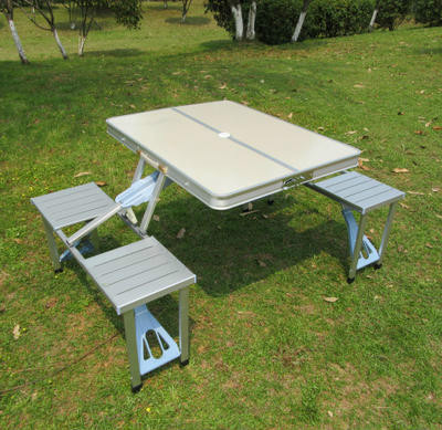Outdoor Folding Table Chairs Set Suitcase Portable Desk Camping