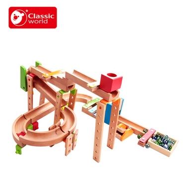 Child track blocks wooden super marble run assembling toys