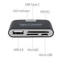 card reader Baolyda Card Reader 4in1 OTG/TF/SD Smart Mini Card Reader Type C Adapter USB / Micro USB Charge Phone Port Combo Card Reader (2)