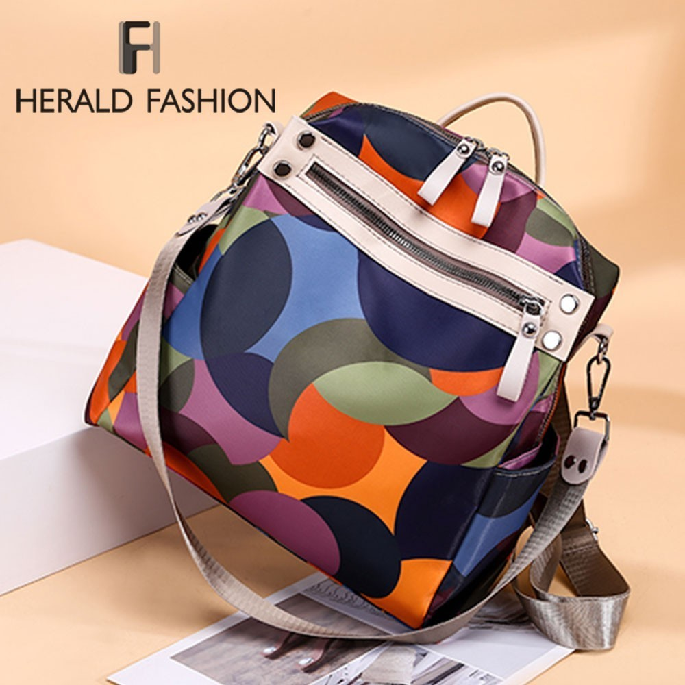 Laptop Backpack School-Bags Herald Fashion Waterproof Rucksack Oxford Teenage Travel