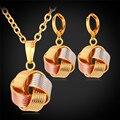 Pingente Colar Dangle Brincos Set Para As Mulheres Na Moda 3 Mistura de Cores Rosa de Ouro/Banhado A Ouro Conjunto de Jóias PE874