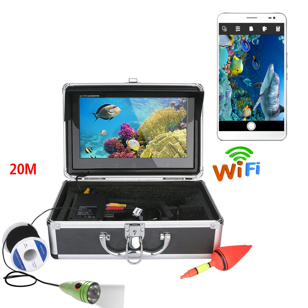 PDDHKK Wifi Wireless 10Inch TFT Video Underwater Camera With6 PCS White LED Lights Ice Fishing Supports IOS Android APP ControlPDDHKK Wifi Wireless 10Inch TFT Video Underwater Camera With6 PCS White LED Lights Ice Fishing Supports IOS Android APP Control