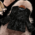 Mink Fur Coat with Velvet Patchwork Black Short Jacket Women Fur Coats Three Quarter Sleeve Luxury Real Mink Fur Coat M-XXXL
