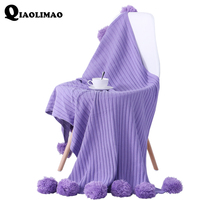 New 100% Cotton Knitted Blanket Portable Home Travel Airplane Violet Knitting Ball Fashion Solid Striped Thread Blanket 70x110cm