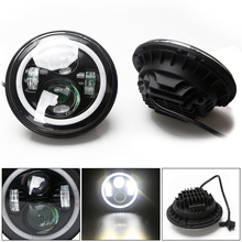 2pcs 7 Inch 58W 3600LM Round LED Headlights Modified HeadLamp with White Halo Ring Angle Eye for Jeep / SUV