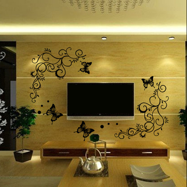 Bigger Size 135cm X103cm Beautiful Butterfly Floral Backdrop Wall     Bigger Size 135cm X103cm Beautiful Butterfly Floral Backdrop Wall Stickers Home  Decor For House Decoration Wallpaper