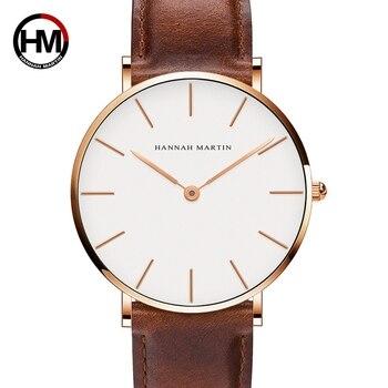 Hannah Martin Fashion Men Watches Casual Quartz Wrist Watches For Men Waterproof Leather Watch Men Black Reloj Hombre