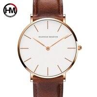 Hannah martin moda masculina relógios casuais quartzo relógios de pulso para homem à prova dwaterproof água relógio de couro masculino preto reloj hombre|Relógios de quartzo| |  -