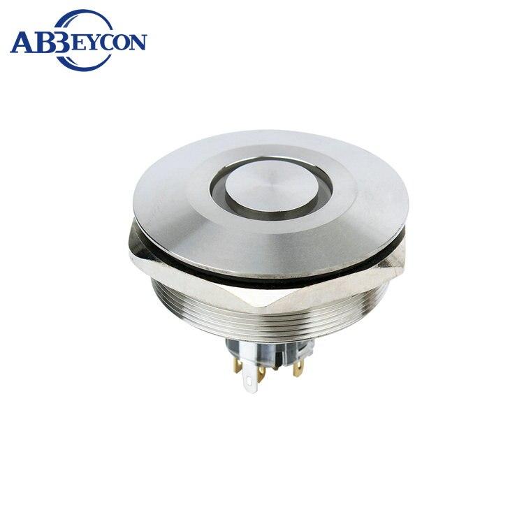 все цены на ABEYCON big 40mm RGB tricolor push button switch ring led light waterproof latching switch illuminated pushbutton switch онлайн