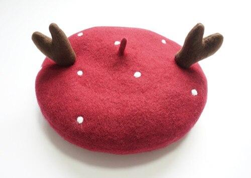 Женщины Зимние Береты вязание Шерстяной Берет Леди Твердые Рога Рождественский Подарок Шляпы Рождество Шляпу Береты Шапки