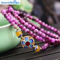 JoursNeige Fioletowy Smok Kryształ Z Pieczone Niebieski Kwiat Bransoletki dla Dziewczyny Kobiety Kryształ Bransoletka Wielowarstwowe Biżuteria