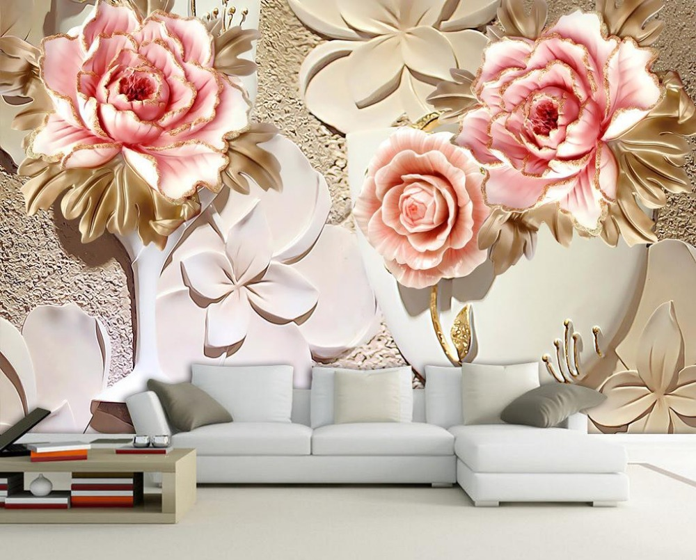 Superieur Custom 3d Wallpaper Murals 3d Flower Wallpaper Relief Flower 3d Wallpaper  Walls Home Decoration  In Wallpapers From Home Improvement On  Aliexpress.com ...
