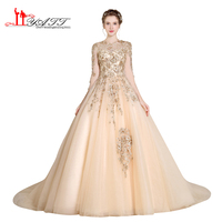 Vestidos De Festa 2017 LIYATT Gold Lace Appliques Long Elegant Dubai Arabic Style Evening Prom Dress