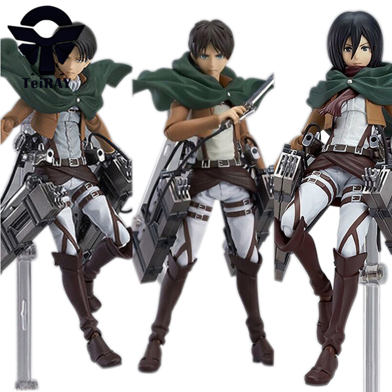 Anime Attack On Titan Eren Levi Mikasa Pvc Action Figure 15cm Shingeki No Kyojin Collection Model Figurine kids Toys for boys  недорого