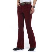 Высокое качество, новинка, мужские осенние вельветовые расклешенные брюки, средняя талия, смарт-повседневные брюки, Bootcut, брюки размера плюс