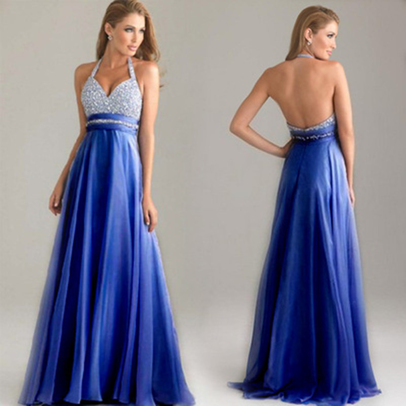 Fashion Ladies Neck Hang Dress Deep V-neck Elegant Blue Long Ankle-Length Backless Sexy Party Evening Dresses for Pregnant Women 2017 deep v neck women dress sexy plus size red blue summer clothes for pregnant women short sleeve evening dresses m 6xl sale