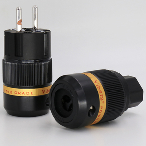 Image 1 - 1 XPair Viborg VE501R + VF501R Pure Copper Rhodium IEC Conector de Áudio Schuko Plugue de Energia DA UE para DIY Elétrica cabo de alimentação