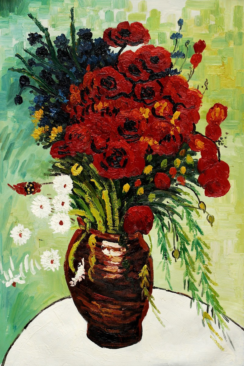 Flower Oil Painting Still Life Art Vase With Daisies And Poppies
