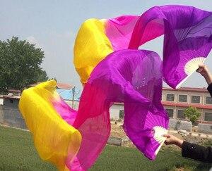 Image 2 - ขายส่งHand Made Belly Danceบูชาผ้าไหมเต้นรำไม้ไผ่ยาวแฟนGradientแนวนอนแนวตั้ง 120/150 จัดส่งฟรี