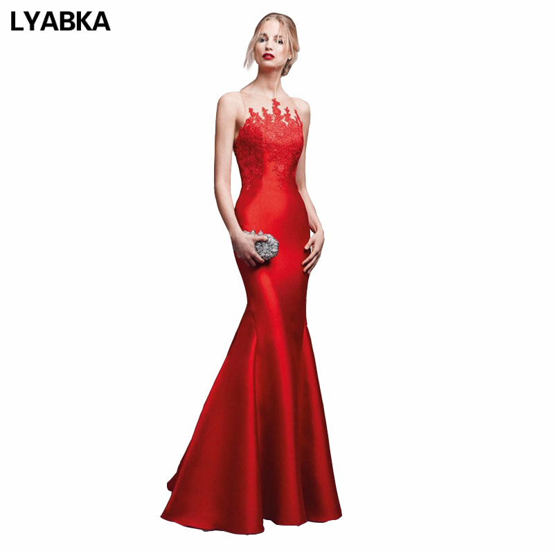 Evening Dress Abendkleider 2019 Design Cheap Red Mermaid Prom Dress Satin With Appliques Evening Dresses Long