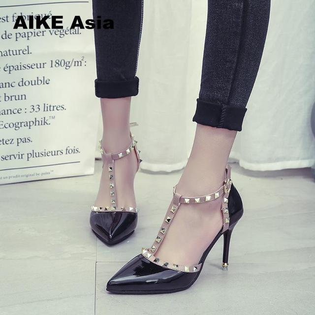 Aike Asia  New Women Pumps Summer Fashion Sexy Rivets Pointed Toe Wedding Party High Heeled Shoes Woman Sandals Zapatos Mujer