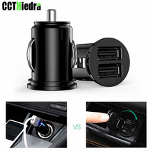 цена на Black Mini USB Car Charger For Most Mobile Phone Tablet GPS 2.4A Charger Car-Charger Dual USB Car Phone Charger Adapter in Car