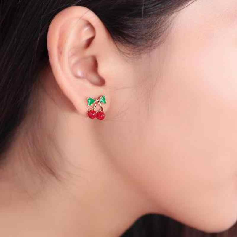 XXZHJ 2018 New Fashion Lovely Red Cherry Earrings Rhinestone Leaf Bead Stud Earrings For Woman Jewelry Gift Wedding Earings