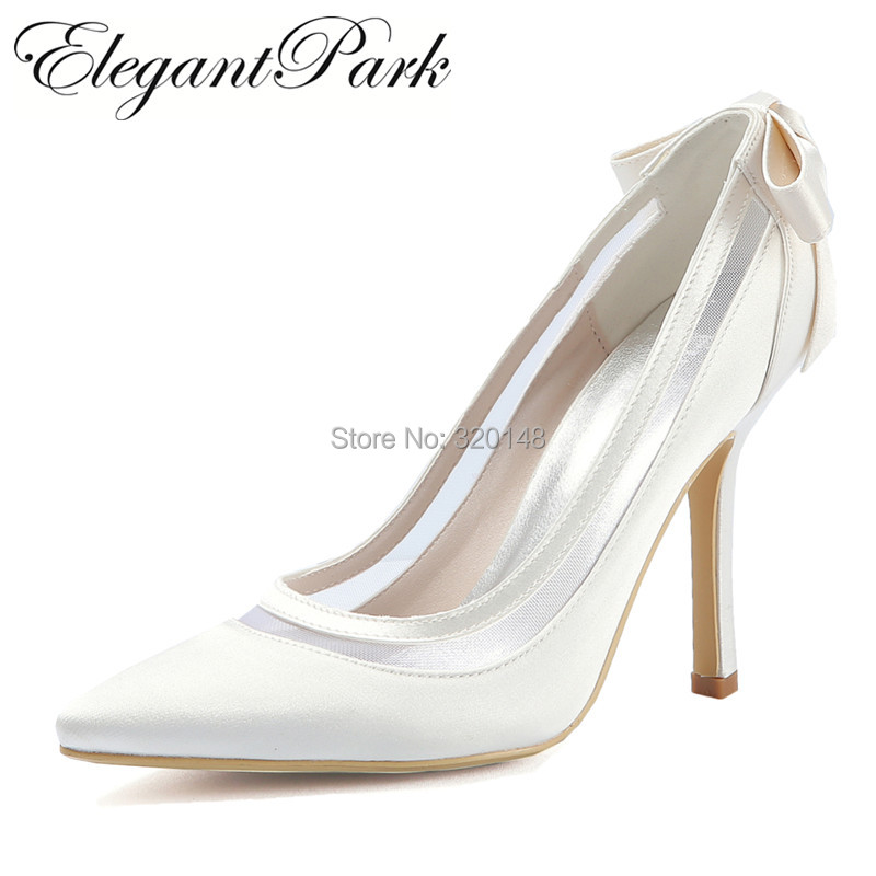 Shoes Woman Bridal Wedding High heel White Ivory Pointed Toe slip on Bows Stain Bride Bridesmaid Prom Party dress Pumps HC1806