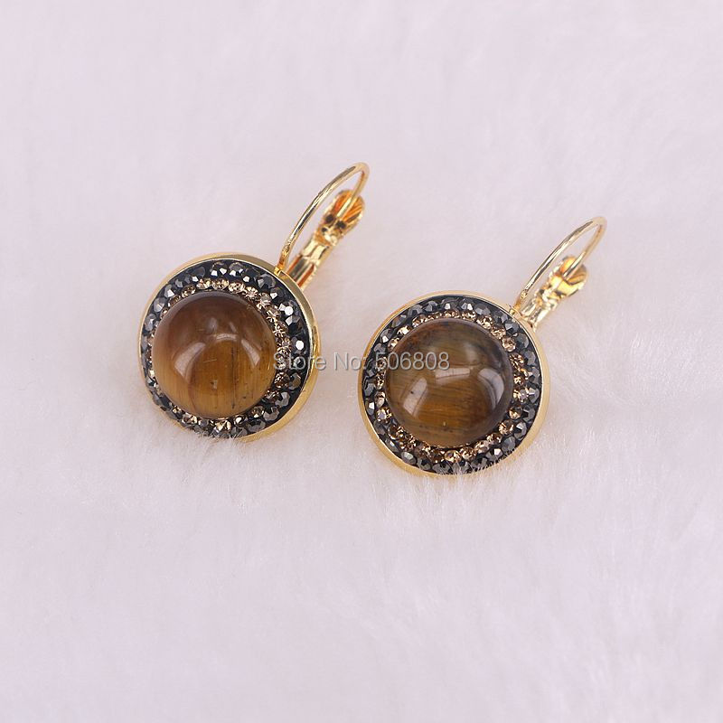 3 Pairs Nature Tigers Eye Stone Round Dangle Earrings, Pave Rhinestone Gold BrownStone Earring