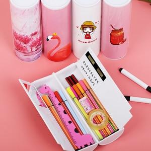 Image 1 - 새로운 kawaii 연필 케이스 거울 계산기와 더블 레이어 펜 상자 학교 용품에 대한 화이트 보드 펜 와이퍼 화장품 케이스 etui