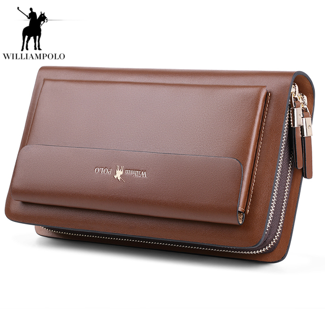 6f2b507ec874 Williampolo Mens Brand Clutch Bags Real Leather Phone Credit Card Organizer  Large male Wallet Fashion Zipper