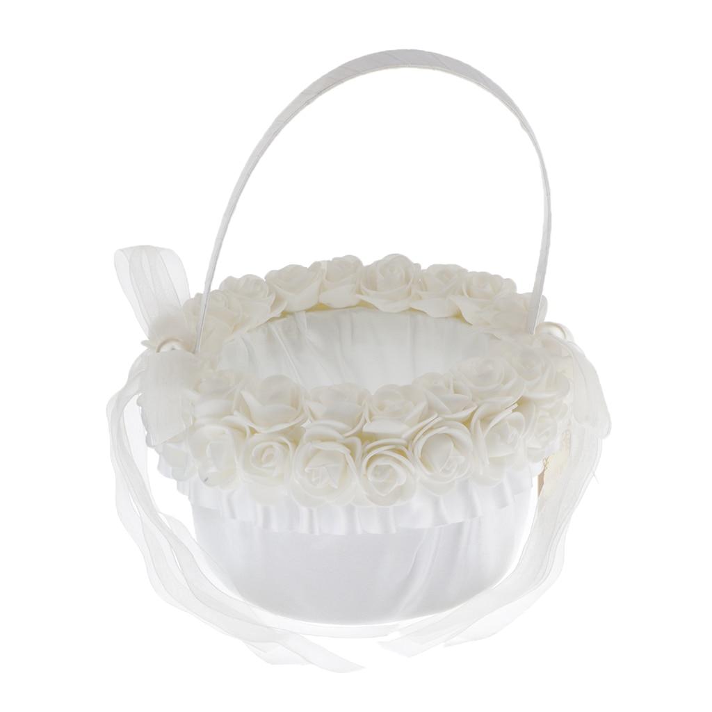 Elegant Lace Flower Basket Engagement Wedding Ceremony Party Flower Basket Flower Girl Basket Wedding Accessory for the Bride