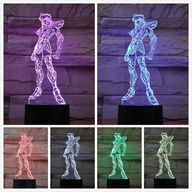 성자 Seiya 밤 빛 Led 그림 만화 장식 조명 어린이 키즈 소년 선물 Nightlight 일본 애니메이션 책상 램프 침실