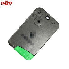 лучшая цена HKOBDII 2 Button Remote Card Smart Car Key for Renault Laguna with Uncut Key Blade 433Mhz ID46 PCF7947 Chip