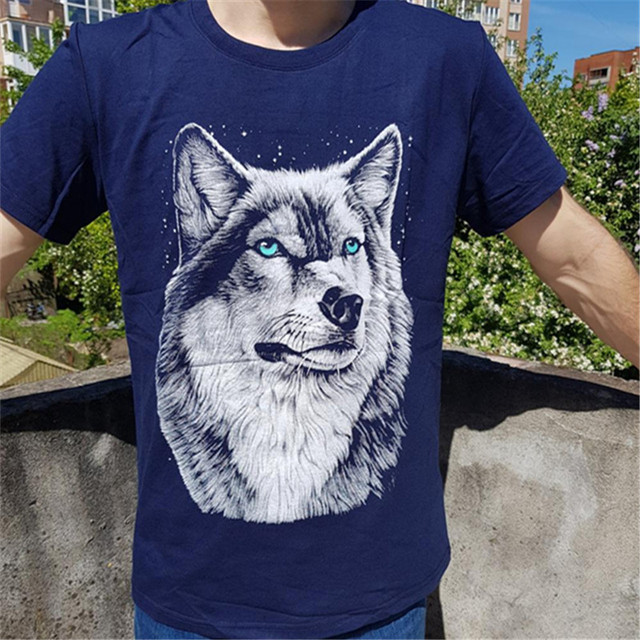 BINYUXD New Summer Brand large size 3D Wolf head T-shirt man round collar short sleeve T-shirt men fashion t shirt short sleeves
