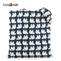 TANGIMP 2016 Canvas Bags Big White Bear in Blue Cotton Linen Eco Shopping Bags Totes kabelky boodschappentas Shoulder Handbags
