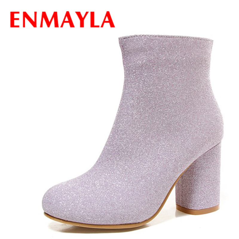 ENMAYLA Autumn Winter Square Heels Glitter Ankle Boots for Women Round Toe Bling Ladies Party Wedding Boots Pink Black Silver enmayla autumn winter chelsea ankle boots for women faux suede square toe high heels shoes woman chunky heels boots khaki black