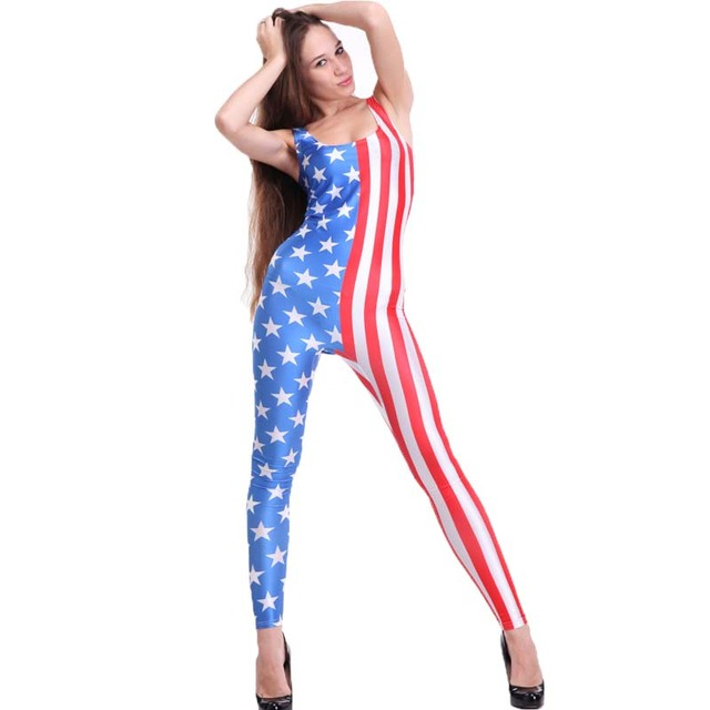 f8a78ca36dd8 SEXY rompers womens jumpsuit Stars and Stripes Catsuit Teddy Plus Size  Overalls Clothes Club Costume Custom