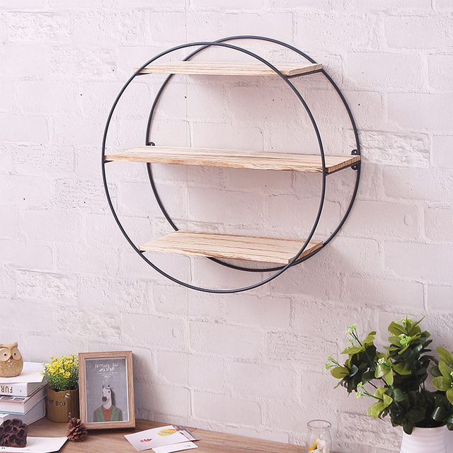 Round Wall Unit Retro Industrial Style Wood Metal Wall Shelf Rack Storage  Decoration Home Decor