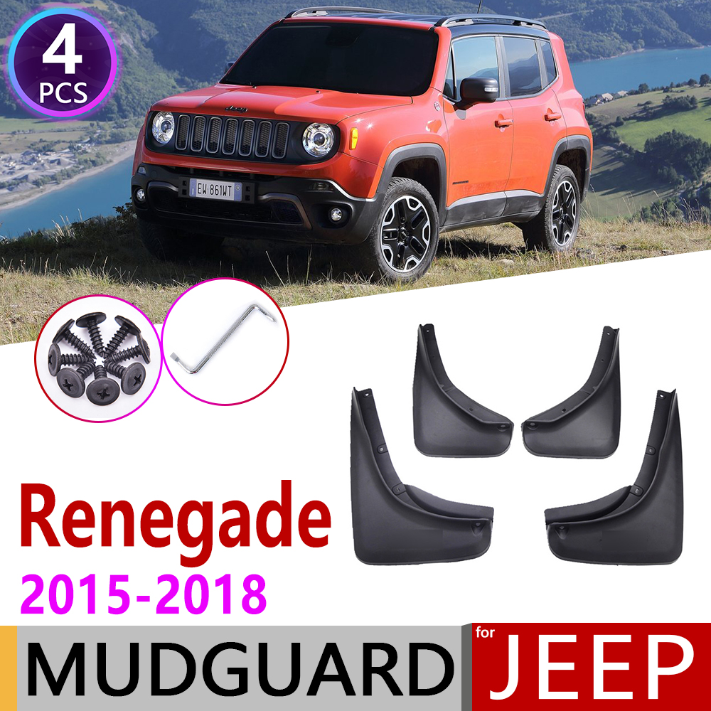 4 PCS Front Rear Car Mudflap for Jeep Renegade BU 2015 2016 2017 2018 Fender Mud Guard Flap Splash Flaps Mudguards Accessories
