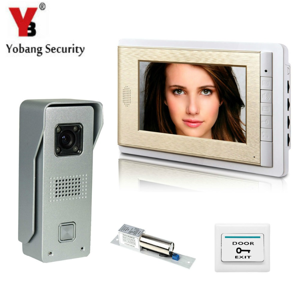 YobangSecurity Video Intercom Monitor 7Inch Video Doorbell Phone Door Phone Home Security Color Wired With Electronic Door Lock wired video door phone intercom system with 7 inch color monitor 700tvl aluminum alloy camera for home security