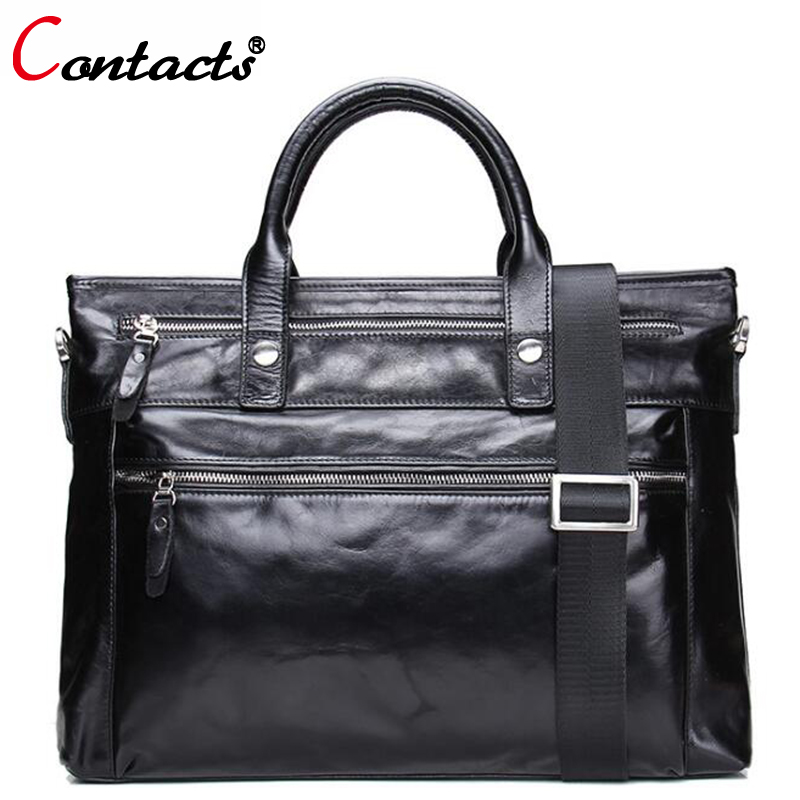 CONTACT'S Genuine Leather Shoulder Bag Men Messenger Bags Male purses and Handbag Black Laptop Briefcase Crossbody Tote Bag Big xiyuan genuine leather handbag men messenger bags male briefcase handbags man laptop bags portfolio shoulder crossbody bag brown