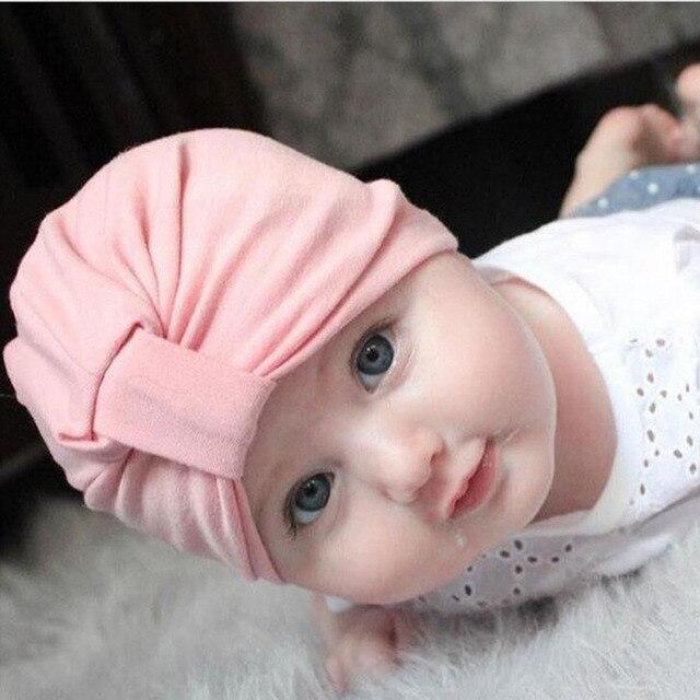 Bayi Gadis-gadis Anak Laki-laki Katun Lembut Sorban Simpul Topi Bayi Balita  Beanies 9fb777bcd3