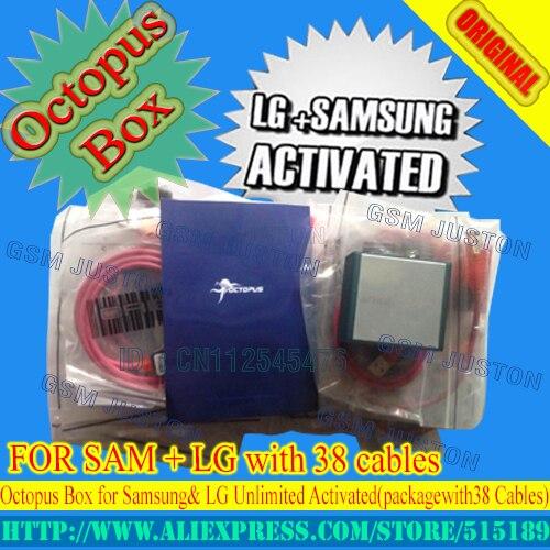 Vendedora superior Completa activado Octopus Box + 38 en 1 Completo juego de cables para lg y para samsung para liberar y flashear y reparación + free ShippingEMSDHL