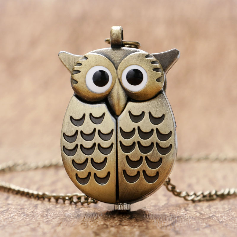 Bronze Night Owl Necklace Pendant Quartz Steampunk Pocket Watch Chain For Men Women P27