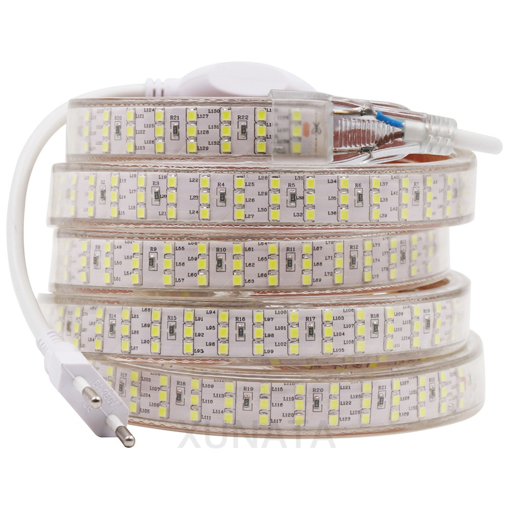 XUNATA 276Leds/m SMD 2835 LED Strip 220V 50cm Cuttable Three Row Waterproof Tape Rope Warm White Decoration Lights 1m 5m 10m 20m